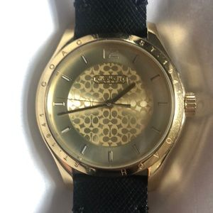 Coach gold watch with black leather strap perfect